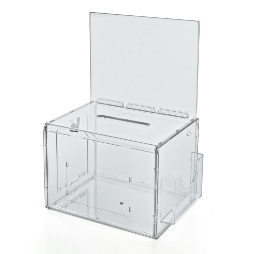 Clear Extra Large Lottery Box with Pocket, Lock and Keys