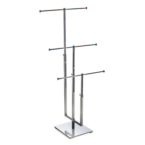 Three-Tier Adjustable Chrome Necklace Counter Display