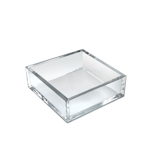 """5.875"""" x 5.875"""" Deluxe Clear Acrylic Square Tray Organizer for Desk or Counter, 4 Pack"""
