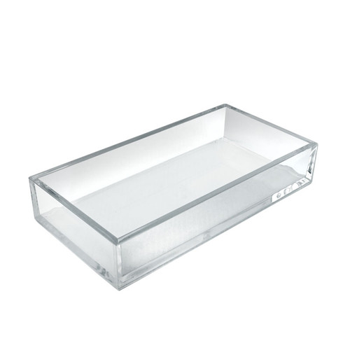 Large Deluxe Clear Acrylic Rectangle Tray Organizer for Desk or Counter, 4 Pack