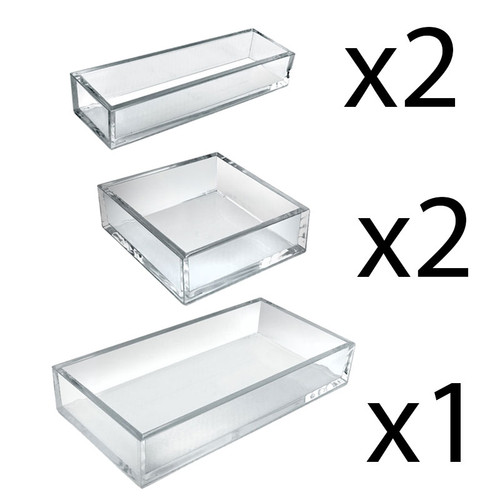 Deluxe 5 Piece Clear Acrylic Tray Set – Two Narrow Rectangle, Two Square and One Large Rectangle Tray