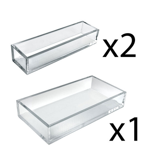 Deluxe 3 Piece Clear Acrylic Tray Set, Two Narrow Rectangle Trays and One Large Rectangle Tray Organizer for Desk or Counter