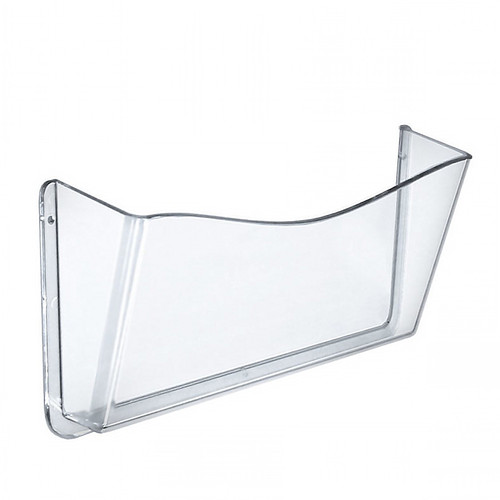Clear Plastic Wall Mount File Holder with Hanging Hardware, 4-Pack