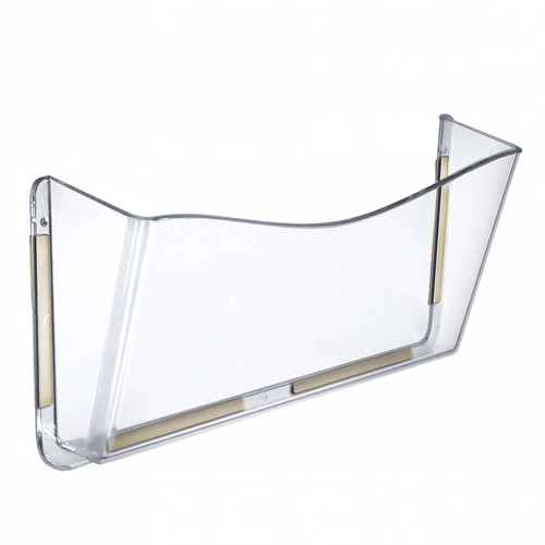 Clear Plastic Wall Mount File Holder with Double Sided Tape, 4-Pack