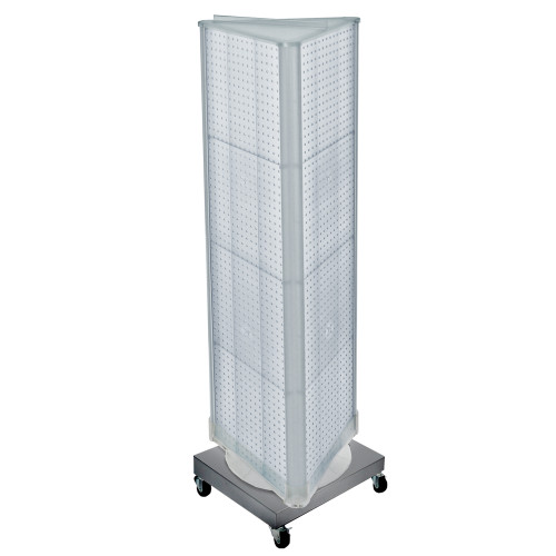 "Three-Sided Revolving Pegboard Tower Floor Display on Wheeled Metal Base. Spinner Rack Stand. Panel Size: 16""W x 60""H"