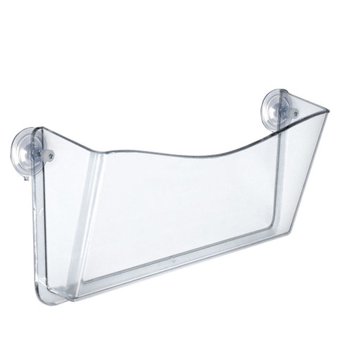 Clear Plastic Wall Mount File Holder with Suction Cups, 4-Pack