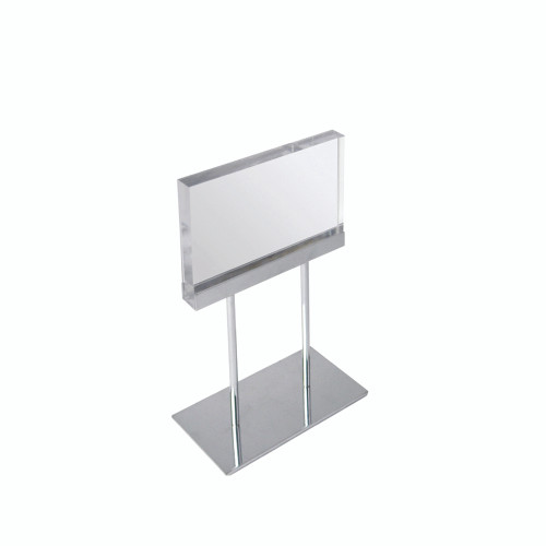 """The Elite Series: Small Acrylic Block Sign Holder on Chrome Stand for Counter 8.5""""W x 5.5"""" H Graphic Size"""