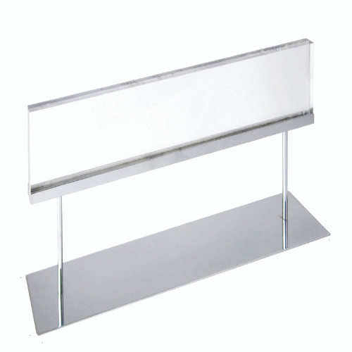 """The Elite Series: Large Acrylic Block Sign Holder on Chrome Stand for Counter 22""""W x 6"""" H Graphic Size"""