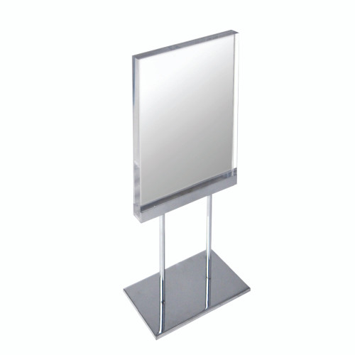 """The Elite Series: Medium Acrylic Block Sign Holder on Chrome Stand for Counter 8.5""""W x 11"""" H Graphic Size"""