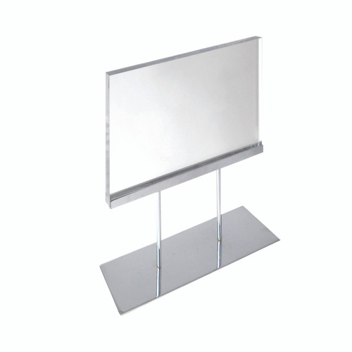 """The Elite Series: Medium Acrylic Block Sign Holder on Chrome Stand for Counter 11""""W x 8.5"""" H Graphic Size"""