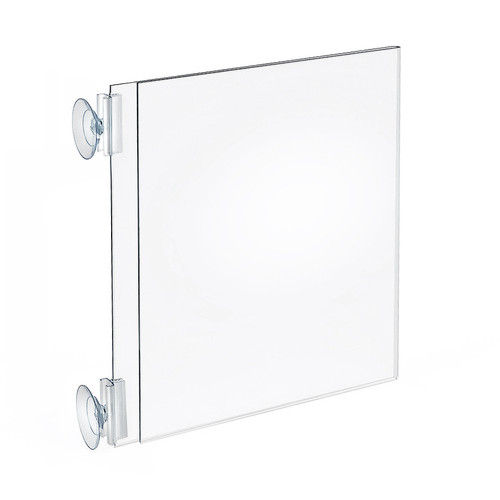 """Two-Sided Acrylic Sign Holder With Suction Cup Grippers 8.5""""W X 11""""H"""