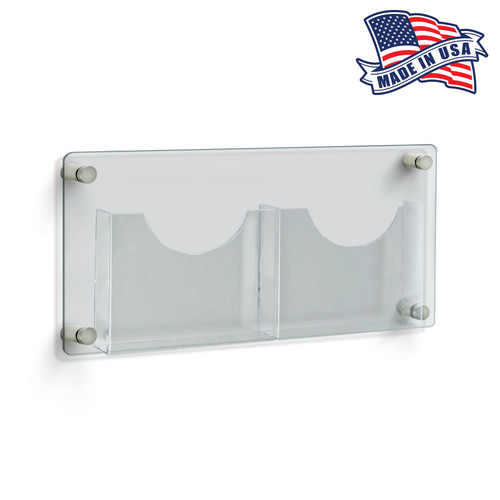 """Two-Pocket Letter Wall Mount Brochure Holder Overall Measurement: 23""""W X 11""""H"""