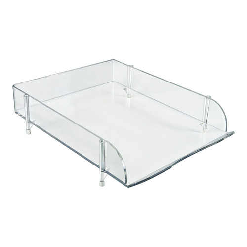 Stackable Clear Letter Tray Desk Organizer,  4-Pack