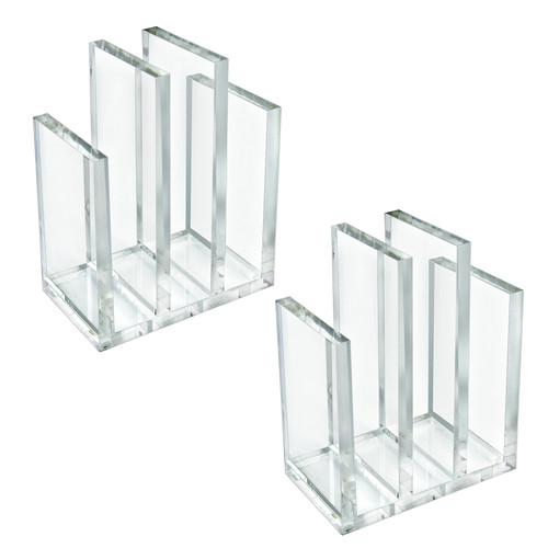 """Clear Acrylic Bookend and Desk File Sorter, File Folder Holder for Office, ½"""" Thick Acrylic."""