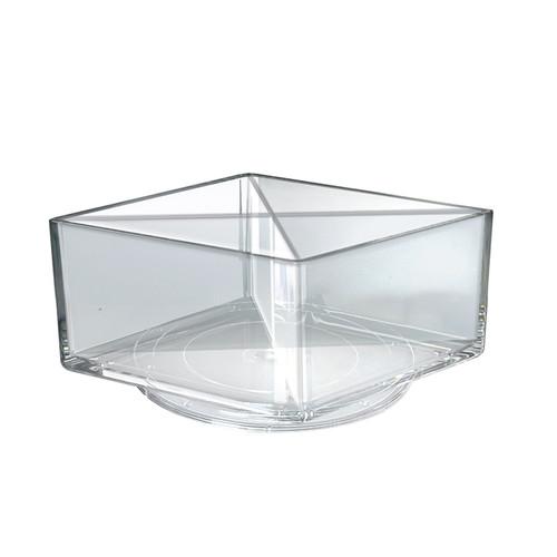 """Deluxe Clear Square Bin Four Compartment Revolving Desk Organizer 8""""W x 8""""D x 4""""H"""