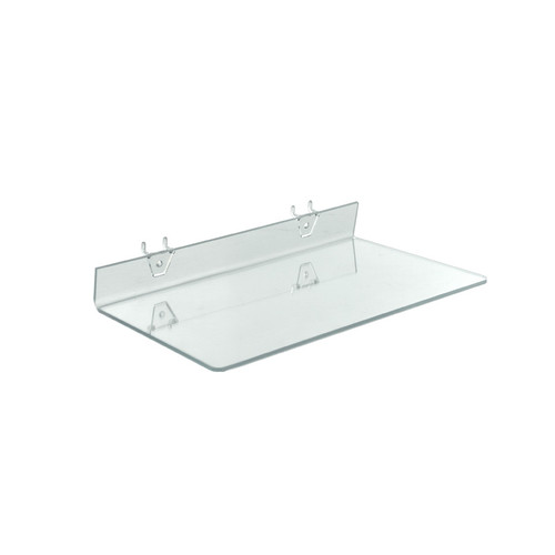 """CLOSEOUT: 16""""W x 8""""D Clear Acrylic Shelf for Pegboard and Slatwall"""