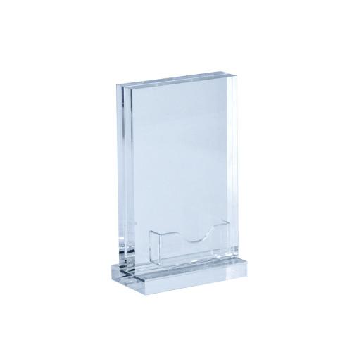 "5.5""W x 8.5""H Vertical Acrylic Block Sign Holder on Acrylic Base w/ Gift Card Pocket"