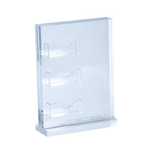 "8.5""W x 11""H Vertical Acrylic Block Sign Holder on Acrylic Base w/ Three Gift Card Pockets"