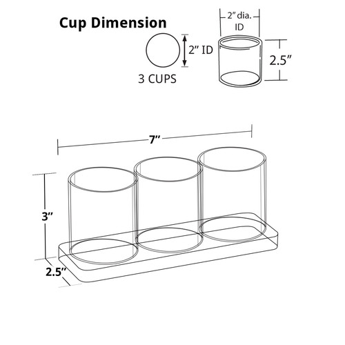 Three Cup Acrylic Deluxe Holder