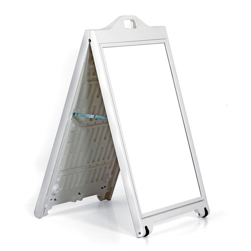 "White Double-Sided Sidewalk  A-Frame Sign w/ Protective Lens 24""x36"""