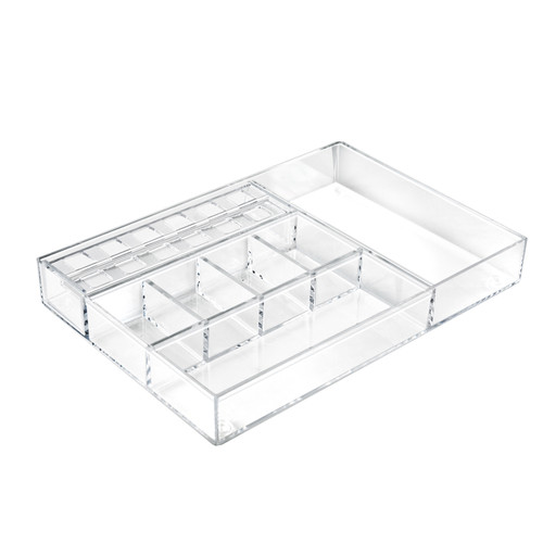 Large Clear Cosmetic Organizer for Counter with Compartments