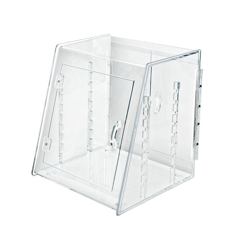 Acrylic Food Display Case with Front and Back Spring-Hinged Doors and Two Trays