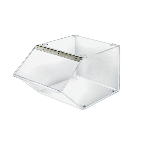 "12"" Acrylic Stacking Bin Display with Metal Hinged Lift-Open Lid"