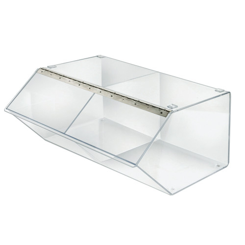 "2 Compartment 24"" Acrylic Stacking Display Bin with Metal Hinged Lift-Open Lid"