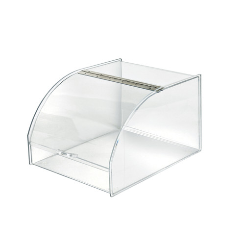 Clear Acrylic Display Case with Curved Metal Hinged Lift-Open Lid