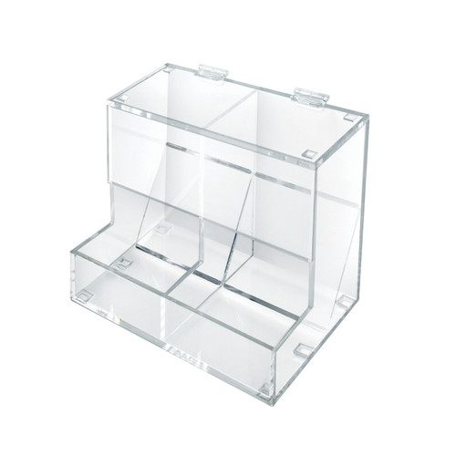 Two Compartment Acrylic Candy Dispenser with Lift-Open Top