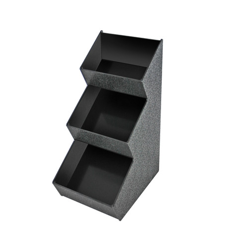 Black Three Compartment Three-tiered Condiment Organizer with Black Front