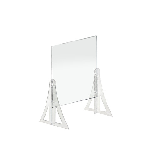 """18"""" x 24""""  New Counter Acrylic Shield, Plexiglass Protective Panel, Splash Guard. New Support Stands. Adjustable Heights. Acrylic .1875"""" Thick"""