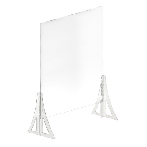 """30"""" x  40"""" New Counter Acrylic Shield, Plexiglass Protective Panel, Splash Guard. New Support Stands. Adjustable Heights. Acrylic .1875"""" Thick"""