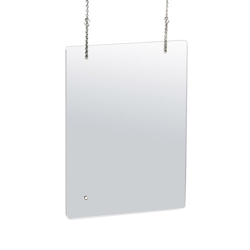 "23.5"" x 31.5"" Hanging Adjustable Cashier Shield, Plexiglass Protective Panel, Splash Guard, 0.100"" thick Acrylic Protective Barrier -Vertical/Horizontal"