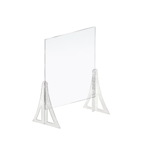 "23.5"" x 31.5"" New Counter Acrylic Shield, Plexiglass Protective Panel, Splash Guard. New Support Stands. Adjustable Heights. Acrylic .1875"" Thick (Former item#179822)"