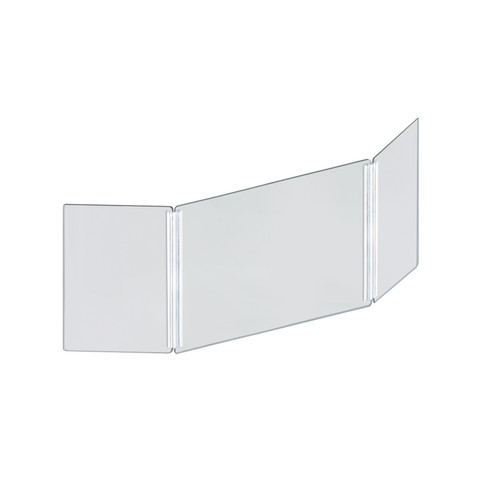 """Small 46"""" wide x 18"""" high Clear Acrylic Tri Fold PLEXIGLASS Protective Shield, Sneeze Guard, Personal Barrier, adjustable heights for pass through on the bottom"""