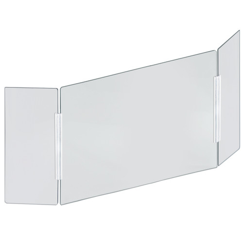 """X-Large 62"""" wide x 30"""" high Clear Acrylic Tri Fold PLEXIGLASS Protective Shield, Sneeze Guard, Personal Barrier, adjustable heights for pass through on the bottom"""