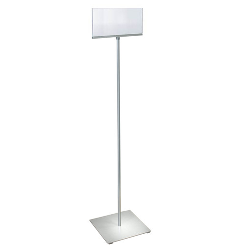 """11""""W x 7""""H Pedestal Two-Sided Sign Holder Stand on Square Metal Base"""