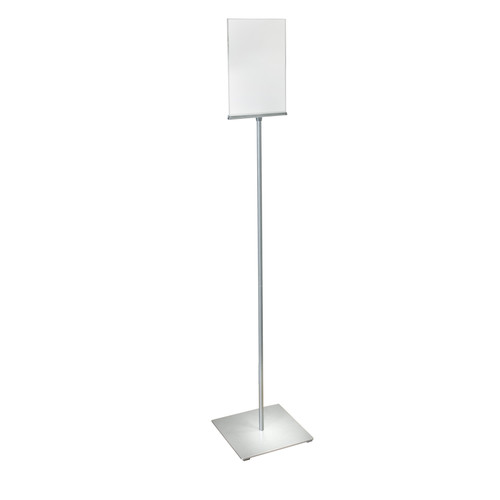"8.5""W x 11""H Pedestal Two-Sided Sign Holder Stand on Square Metal Base"