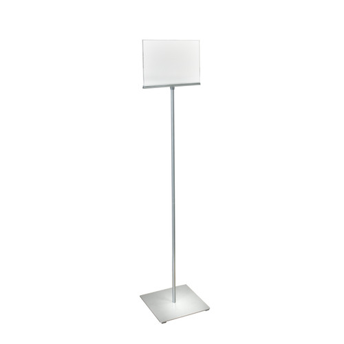 "11""W x 8.5""H Pedestal Two-Sided Sign Holder Stand on Square Metal Base"