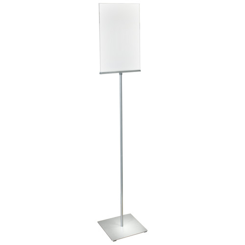 """11""""W x 17""""H Pedestal Two-Sided Sign Holder Stand on Square Metal Base"""