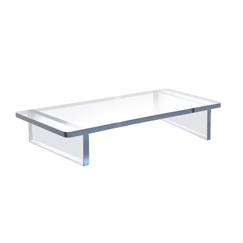 """Clear Acrylic 22""""W x 10""""D x 3""""H 1/2"""" Thick Deluxe Riser w/ Bumpers"""