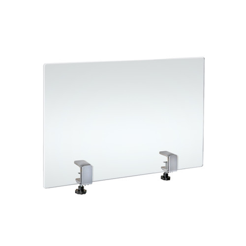 """23.5"""" x 31.5"""" Acrylic Protective Shield with Metal Counter Edge Clamp. Plexiglass Protection."""