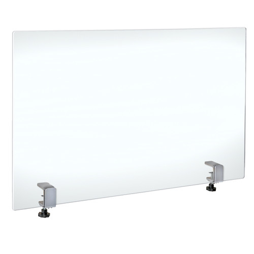 "30"" x 40"" Acrylic Protective Shield with Metal Counter Edge Clamp. Plexiglass Protection."
