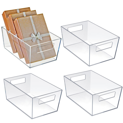 "Small Organizer Storage Tote Bin with Handle 9""W x 6""D x 4""H"