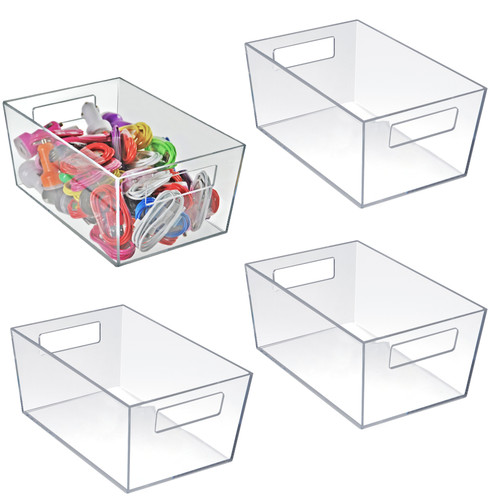 "Medium Organizer Storage Tote Bin with Handle 10""W x 6.75""D x 4.5""H"