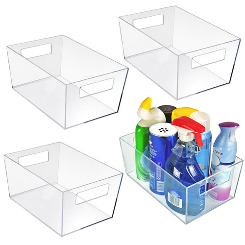 "Large Organizer Storage Tote Bin with Handle 11.25""W x 7.5""D x 5""H"