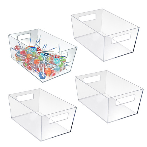 "X-Large Organizer Storage Tote Bin with Handle 13""W x 9.5""D x 6.5""H"