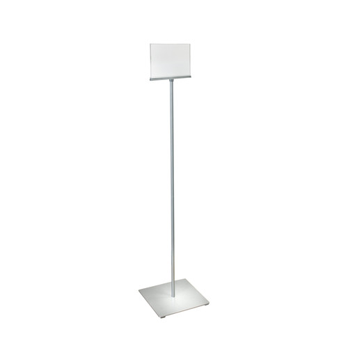"8.5""W x 5.5""H Pedestal Two-Sided Sign Holder Stand on Square Metal Base"