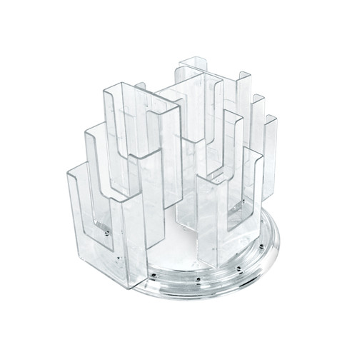 CLOSEOUT: 12-Pocket Three-Tier Revolving Trifold Brochure Holder